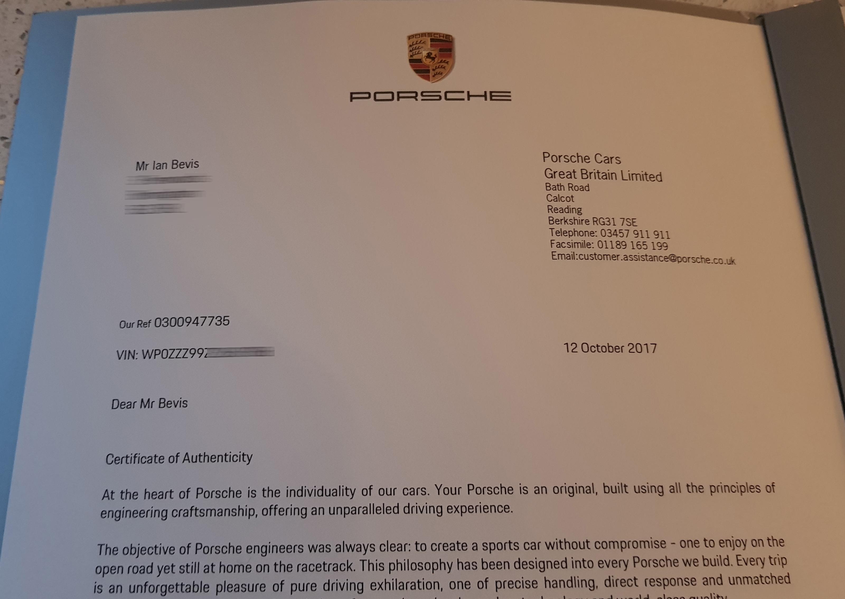 certificate authenticity porsche